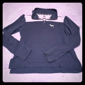 PINK 3/4 Zip Grey and Off White Dog Sweatshirt M